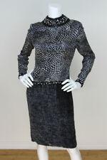 GALANOS Vintage Black White Silk Crystal Beaded Collar Velvet Flocked Dress 8 M