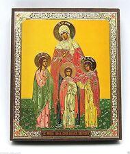 Icon Saints Faith Hope Love Sofia wood икона Вера Надежда Любовь София 10x12x2