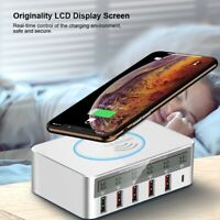 QC3.0 Type-C Multi-port USB Wireless Fast LCD Charger Mobile Charging Dock Pad