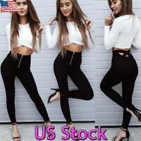 Women Pencil Skinny Slim Jeans Pants High Waist Stretch Casual Trousers Zipper