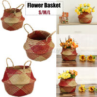 Seagrass Woven Belly Basket Flower Planter Pot Laundry Storage Bag Craft 5@%