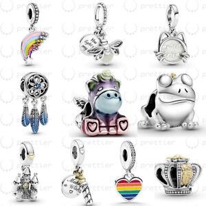 925 Sterling Silver Rainbow Bruno Unicorn Firefly Dangle fit Charm Bracelet