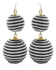 Double Threaded Ball Bon Bon Black and White Zebra Dangle Drop Statement Earring