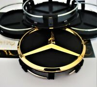 24k Gold Plated 4 Black Alloy Wheel Centre Hubs Caps 75mm Star for Mercedes 24ct