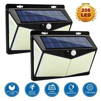 208 Led Solar Powered PIR Motion Sensor Lights Outdoor Garden Security Wall Lamp