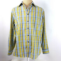Victorinox Mens Plaid Shirt Size L Yellow Blue Long Sleeve
