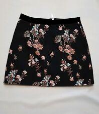 Miss Selfridge Black Floral A-Line Skirt  with Velvet Trim Size UK 12