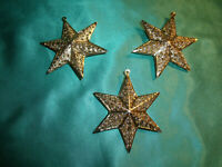 ~ Christbaumschmuck Eckartina Metall filigran 3 Christbaumkugeln Sterne gold