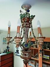 Rare Italian Renaissance chandelier in wood and polychrome metal 1960's
