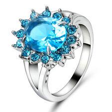 Round Cut Aquamarine Blue CZ Wedding Ring white Rhodium Plated Women's Size 9