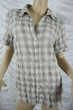 SUSSAN lilac cream check gingham plaid cotton short sleeve blouse size 10 EUC