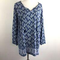 J. Jill Blue Floral Print Tunic Top Women's Size 2X Boho V-Neck Long Sleeve
