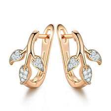 Luxury Silver & Yellow Gold Filled Tree Leaf Pave Diamond Huggie Lady Earrings