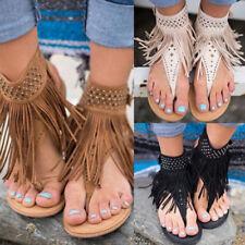Casual Women Summer Bohemia Slippers Flip Flops Flat Sandals Tassel Thong Shoes