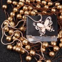 Mode Rose Gold Opal Kristall Schmetterling Anhänger Kette Halskette Geschenk ~