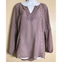 BUCKLE BKE RED Size L Crochet Peasant Blouse V-Neck Top Boho Purple Lavender