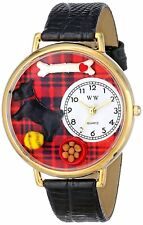 Whimsical Watches Scottie Dog Lover Black Leather Strap Gold-Tone G0130067 NEW!!