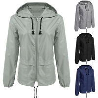 Women Rain Waterproof Jacket Festival Hooded Cardigan Zip Hiking Coat Raincoat