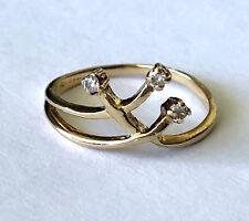14K Yellow Solid Gold Classy Unique And Elegant Ladies Ring 3 Diamond Sz 6.25