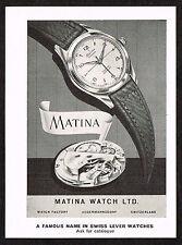 1950s Vintage 1955 Matina Swiss Watch Print Ad