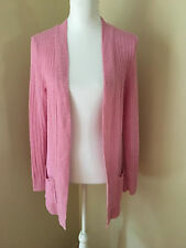 TALBOTS Petites PM Pink Ribbed Linen Open Tunic Cardigan Sweater Pockets EUC