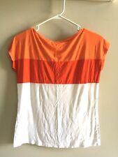 Joe Fresh Women's Orange White Shirt Size Small Petite s/p 100% Rayon