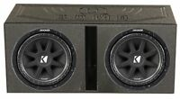 KICKER 43C124 12 Inch Subwoofers (2 Pack) & Q-POWER Ported Box w/ Bedliner Spray