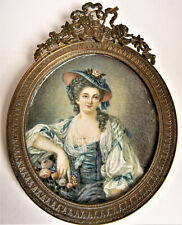 Antique  19th FRENCH PORTRAIT LADY MINIATURE Painting WOMAN Painted Bronze Frame