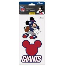 """NEW YORK GIANTS MICKEY MOUSE DISNEY 2 PIECE PERFECT CUT DECAL SHEET 4""""X8"""""""