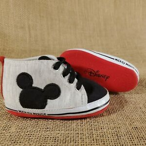 Disney Soft Sole Infant Baby Shoes, Mickey Mouse, Grey Red & Black, 9-12 Months