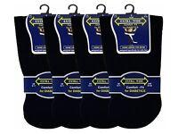 3 Mens Diabetic EXTRA-WIDE Cotton Rich Wider Top Socks UK 6-11 (Black)