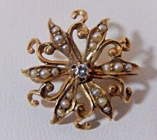 ANTIQUE VICTORIAN 14K YG EUROPEAN CUT DIAMOND NATURAL SEED PEARL  BROOCH PIN EVC