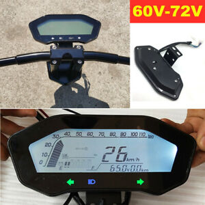 60V-72V Universal Electric Bicycle Scooter LCD Odometer Speedometer with Bracket
