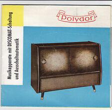 alter Faltprospekt POLYDOR 1957 Musikapparate mit DISCOMAT-Schaltung   ( 4708