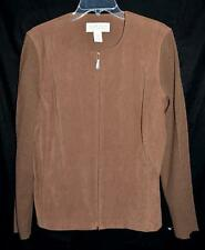 Norton McNauchton Brown Faux Suede with Ribbed Knit Sleeves Womens Jacket Sz 12