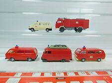 AV195-0,5# 5x Wiking H0 Model MB+Volkswagen/VW: Fire brigade/FW+Ambulance, vg