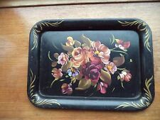 Vintage Tole Dresser Tray Decorative Black with painted flowers