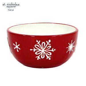 "St. Nicholas Square TREE LOT 10oz Snack Oatmeal 4.5"" Bowl Red White Snowflake"