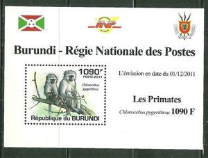 BURUNDI 831A MNH SOUVENIR SHEET PRIMATES; CHIOROCEBUS PYGERTHRUS SCV 3.75