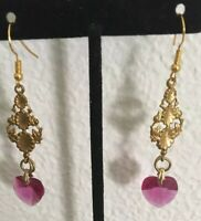 VINTAGE ANTIQUE  Brass and Glass Heart  made in usa DANGLING EARRINGS