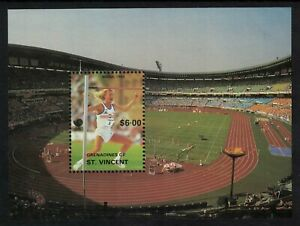 1988 St Vincent - Grenadines UNISSUED $6 Olympic Games High Jump M/Sheet (C21)