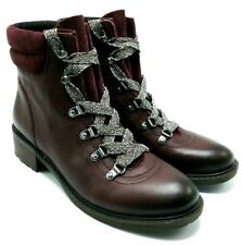 Sam Edelman Darrah Womans Leather Combat Ankle Boots Lace Up Red Burgundy US 7,5