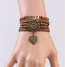 NEW Infinity Love Pearl Leather Charm Bracelet plated Silver DIY Cute