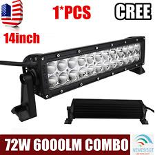 72W 14''Inch CREE Led Light Bar ATV Combo Driving Off Road Truck 4WD UTV 12V 24V