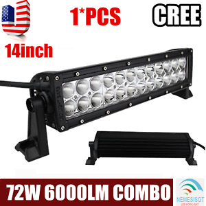 "14""in 72W Led Work Light Bar Combo for JEEP Boat  Offroad 4WD ATV Truck SCREWS"