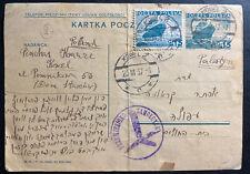 1937 Kowel Poland Stationery Postcard Cover To Palestine Yiddish Writing