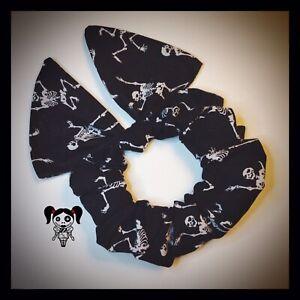 Gothic Alternative Halloween Skull Skeleton Bow Scrunchie Hair Accessories Gift