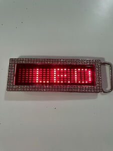 Red LED Belt Buckle Scrolling Screen Programmable Text Screen Customizable NEW