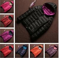 Packable Womens Reversible Duck Down Hooded Coat Light Jacket Winter Outwear New
