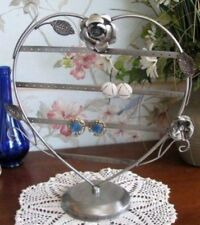 Earring Holder Rack 13 inch Heart Silver Tabletop Display Rose Accent 34 Pair